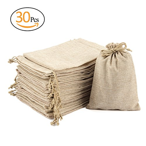 "ANPHSIN 30 Packs Burlap Bag with Drawstring - 6.82 "" x 4.81"" Talent Bag Jewelry Pouches Sacks for Wedding Favors, Party, DIY Craft and Christmas"