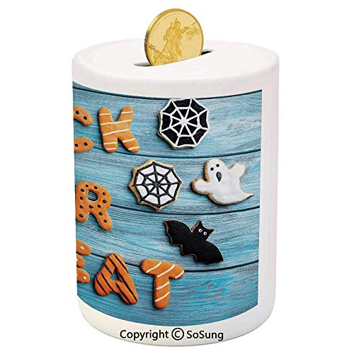 Halloween Ceramic Piggy Bank,Fresh Trick or Treat Gingerbread Cookies on Blue Wooden Table Spider Web Ghost Decorative 3D Printed Ceramic Coin Bank Money Box for Kids & Adults,Multicolor -