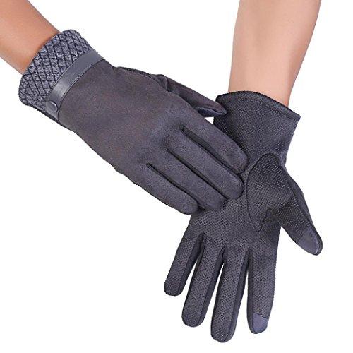 Elaco Men's Anti Slip Winter Warm Motorcycle Cycling Ski Snow Gloves (Gray)