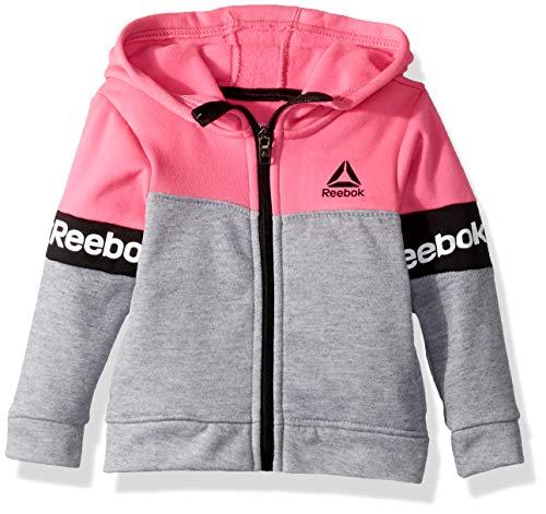 Reebok Fleece - Reebok Girls' Toddler Spun Poly Fleece Varsity Jacket, varsity pink, 3T