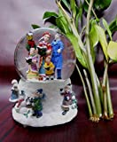 Lightahead Christmas Carol Singing Figurine Snow Musical Water Ball Snow Globe LED light with 8 melodies playing in Polyresin