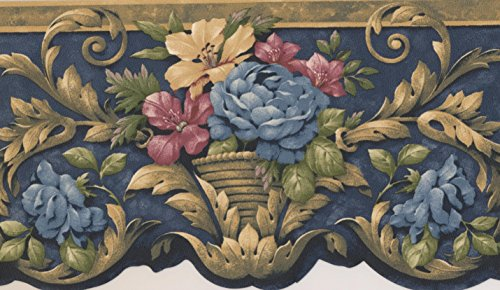 Blue Red Yellow Flowers in Pots Victorian Wallpaper Border Traditional Design, Roll 15' x 4.18''