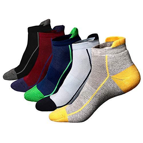 thletic Socks Cotton Mesh Cushioned Running Ventilation Sports Tab Sock(5 pack) ()
