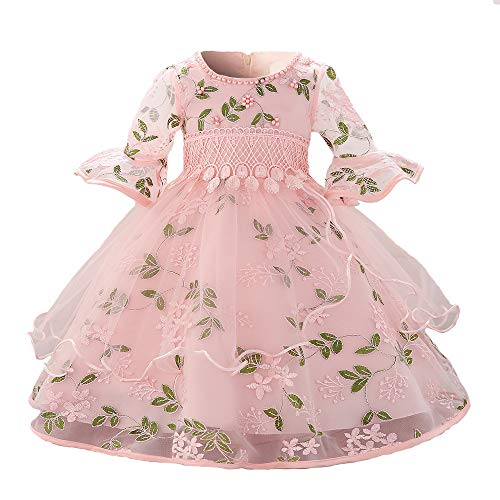 Myosotis510 Girls' Lace Princess Wedding Baptism Dress Long Sleeve Formal Party Wear for Toddler Baby Girl (13-24Months, Embroidered Pink)