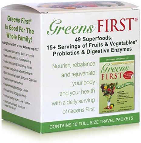 Greens First Original - 15 Count Travel Packets - 49 Superfoods, 15+ Servings of Fruits & Vegetables, Probiotics & Digestive Enzymes