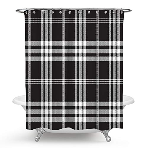 QCWN Plaid Shower Curtain,Lumberjack Fashion Buffalo Style Checks Pattern Retro Style with Grid Composition Shower Curtain Set with Hooks for Bathroom Décor.Black White - A On Plaid Curtain