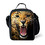 7-Mi KIds Insulated Lunch Bags For Food Children 3D Cheetah Lunch Tote Box With Shoulder Adjustable Strap