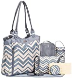 Image of SoHo Collection, Louvre 9 pieces Diaper Tote Bag set (Chevron)