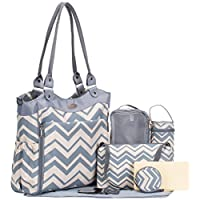 SoHo Collection, Louvre 9 pieces Diaper Tote Bag set (Chevron)
