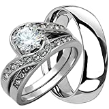 4 Piece His & Hers, Women's Stainless Steel Heart Cut Cubic Zirconia 1.7 Ct Engagement Wedding Ring Set & Matching MenÕs Two Tone TUNGSTEN Band. Available Sizes: Men's 5,6,7,8,9,10,11,12,13 Women's Set Sizes: 5,6,7,8,9,10