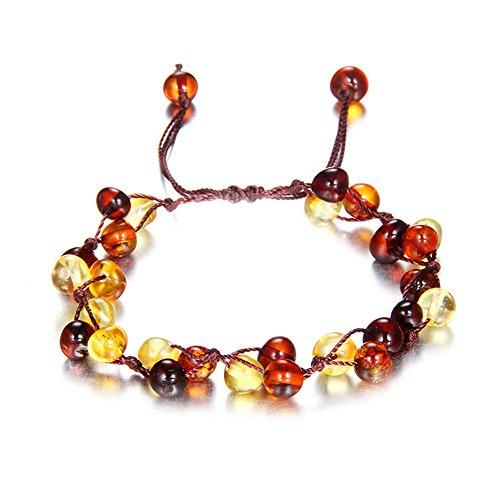 Coco Cut Bracelets (Handmade Amber Bracelet - Raw Baltic Amber Bracelet for Women Girl Yoga Mala Bangle Gift)