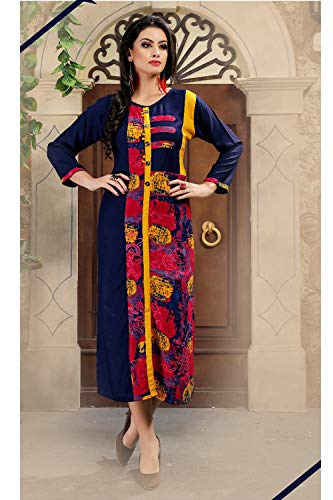 Women Traditonal Partywear Indian Readymade Designer Kurti Blue Ethnic Multi Facioun Da EqPwpp