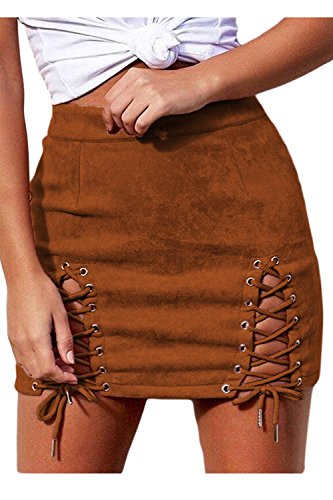 Camoscio Mini Eyelet Benda Bodycon Merletto Sevozimda Nightout Gonna Brown Donne Si Le CffqYz