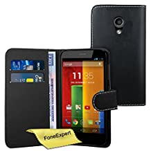 Moto G 2nd gen Case, FoneExpert® Premium Leather Flip Book Wallet Case Cover For Motorola Moto G 2nd gen (2014) + Screen Protector & Cloth (Black)