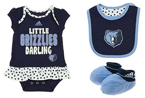 adidas NBA Infant's Memphis Grizzlies 3 Piece Onesie Bib and Booty Set, Navy 12 - Basketball Onesie Adidas