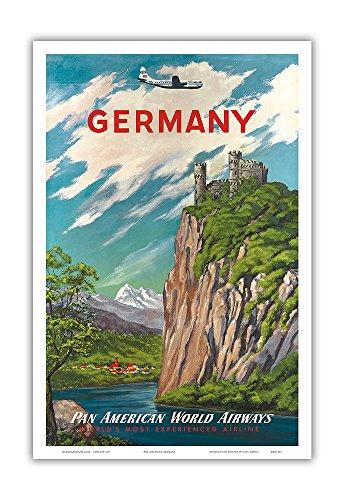 Germany - Der Rhein (The Rhine River) - Pan American World Airways (PAA) - Vintage Airline Travel Poster c.1950s - Master Art Print - 12in x 18in