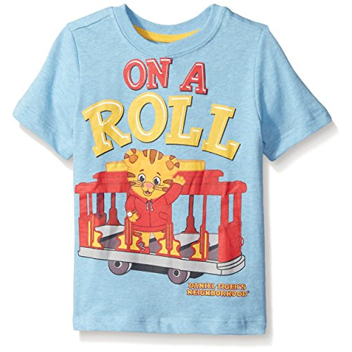 Daniel's Tiger Neighborhood Little Boys' Toddler Short Sleeve Daniel T-Shirt, Light Blue Heather, 2T (Toddler Tiger)