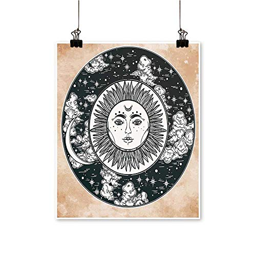 1 Piece Wall Art Painting Face in Circle Motif Inner Power The Cosmos Theme Black White Cream Living Room Office Decoration,20