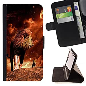DEVIL CASE - FOR HTC One M8 - Lion Mane Golden Sahara Africa Powerful - Style PU Leather Case Wallet Flip Stand Flap Closure Cover