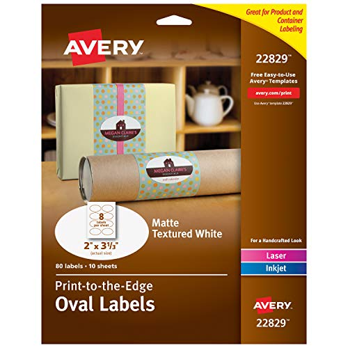 "Avery Oval Labels for Laser & Inkjet Printers, 2"" x 3-1/3"", 80 Labels (22829)"