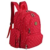 Diaper Bag Mummy Backpack Large Capacity Waterproof Multifunctional with Insulated 3 Bottle Pocket-Eco friendly (Red+Point)