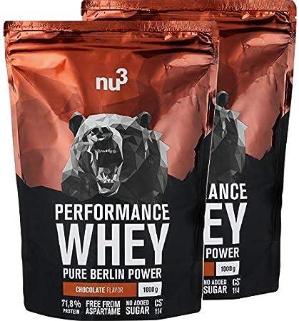 nu3 Performance Whey Protein sabor Chocolate - 2 kg de suero en polvo con 74,9g de proteína - Aminoácidos BCAAs + proteína aislada y concentrada - ...