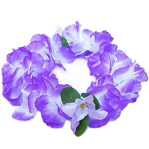 Premium Hawaiian Crown Lei- Paradise Petunia w/Orchids in Purple (Petunia Orchid)