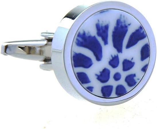 ZCX Camisas de Mujer Gemelos Y Accesorios Gemelos Ronda Nails Divertido Antiguo Porcelana Azul y Blanca de Las Mancuernas de los Hombres Gemelos (Color : D): Amazon.es: Hogar