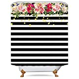 Pink and Black Shower Curtain Fabric Cdcurtain Flower Shower Curtain Panel Black and White Stripe Floral Wedding Rose Pink Herbs Decor Fabric Set Polyester Waterproof 72x72 Inch Free 12-Pack Plastic Hooks