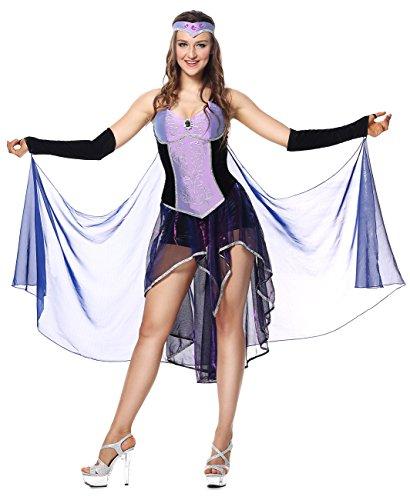 Seductive Sorceress Sexy Costumes (Lusiya Women's Seductive Sorceress Adult Halloween Plus Size Costume Purple Small/Medium)