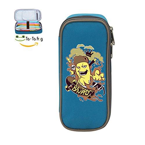 Cute Large Capacity Cool Canvas Pencil Case Pen Bag Shoot Student blue