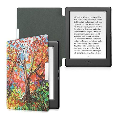 kwmobile Case Compatible with Kobo Glo HD/Touch 2.0 - PU e-Reader Cover - Autumn Tree Multicolor/Orange/Red