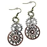Women's Steampunk Earrings for sensitive ears | Triple Clock Wheel Gear Mixed Tone 6