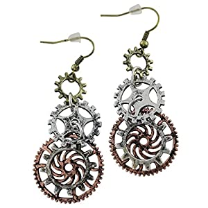 Women's Steampunk Earrings for sensitive ears | Triple Clock Wheel Gear Mixed Tone
