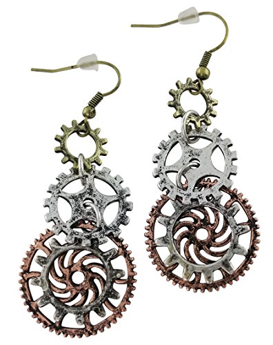 Women's Steampunk Earrings for sensitive ears   Triple Clock Wheel Gear Mixed Tone