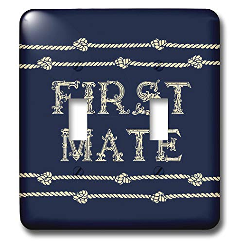 3dRose Russ Billington Nautical Designs - Knotted Rope and Text First Mate in Ivory over Navy Blue - Light Switch Covers - double toggle switch (lsp_291574_2)