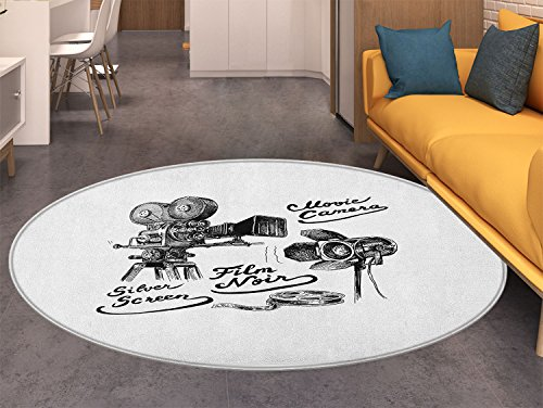 Movie Theater Round Area Rug Carpet Cinematography Themed Artwork with Old Camera and Equipment Silver Screen Living Dining Room Bedroom Hallway Office Carpet Black White by also easy