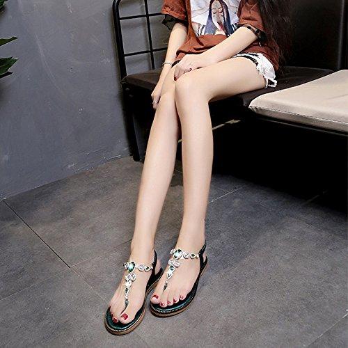 Post Elastique Toe Sandales Plat Green T Été Femmes Chaussures Strap Boho Clip Thong Strass Sandales Tongs Plage Hope w4xOvqApv