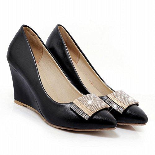 Carolbar Women's Chic Fashion Rhinestones High Heel Wedge Court Shoes Black 41FJUuGk76