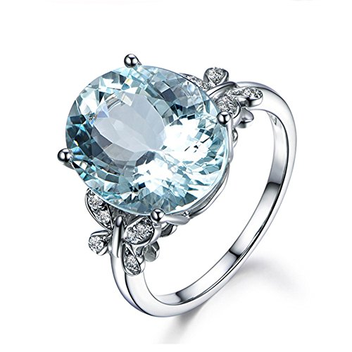 Erllo Natural Sky Blue Topaz Ring 925 Sterling Silver 10x14mm Oval Gemstone Ring 6 Carat Oval Cut Engagement Rings- Finger Size 4