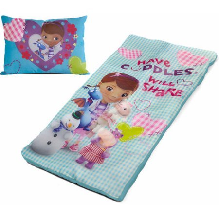 Disney Doc McStuffins Multicolor Kid's Slumber Set Includes a Sleeping Bag and Pillow For Use at Home, Sleepovers or Travel