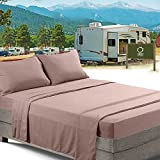 RV/Short Queen Bed Sheets Set Bedding Sheets Set for Campers, 4-Piece Bed Set, Deep Pockets Fitted Sheet, 100% Luxury Soft Microfiber, Hypoallergenic, Cool & Breathable, Taupe