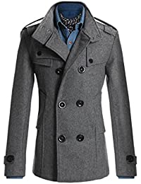 Yayu Men's Warm Double Breasted Stand collar Half Pea Coat Trench