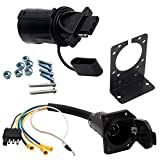 7 way trailer mounting bracket - NEW SUN 4 Wire Flat and 7-Way Vehicle End Connector RV Trailer Light Wire Harness Adapter and Bracket