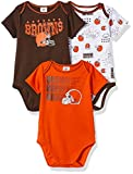 NFL Cleveland Browns Unisex-Baby 3-Pack Short Sleeve Bodysuits, Brown, 0-3 Months