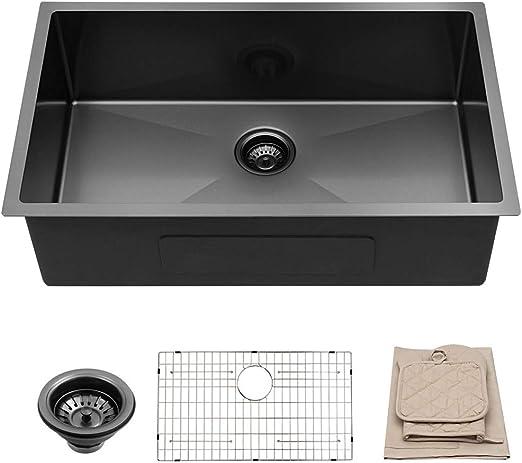 Lordear 32 In Undermount Kitchen Sink Matte Black 16 Gauge Tight Radius  Deep Single Bowl Stainless Steel Sink