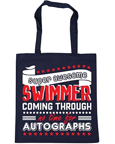 Hippowarehouse Super Grande Nuotatore Che Non Ha Tempo Per Gli Autografi Borsa Da Spiaggia Palestra Borsa Da Spiaggia 42cm X38cm, 10 Litri - Marine Francese, Taglia Unica