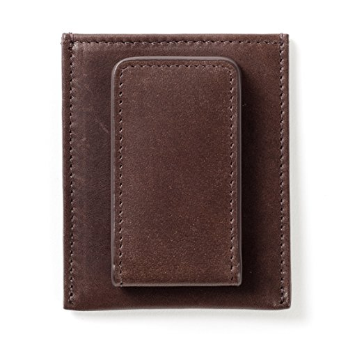 Leatherology Men's Slim Money Clip Card Case Wallet - German Leather - Mahogany (Mahogany Money Clip)