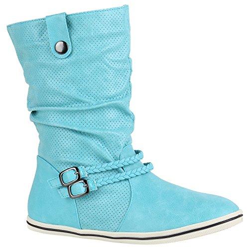 Damen Stiefeletten Schlupfstiefel Flach Stiefel Leder-Optik Metallic Schuhe Boots Trendy Übergangsschuhe Flandell Türkis Amares