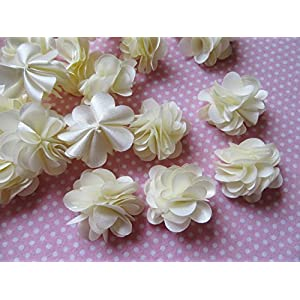 "YYCRAFT 20pcs 1 1/4"" Handmade Sewn Satin Flowers DIY Flower for Headbands Craft,Wedding Party Decoration 3"